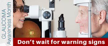 Glaucoma usually starts with no symptoms, and can only be diagnosed with regular eye exams